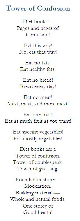 Diet books-tower of confusion poem